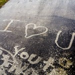 Power Washing Love Messages on the Driveway
