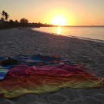 Sunset and Towels Sanibel Island