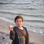 Thing Two collecting shells at Assateague Island