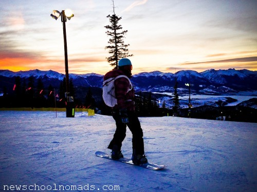Sunset snowboarding
