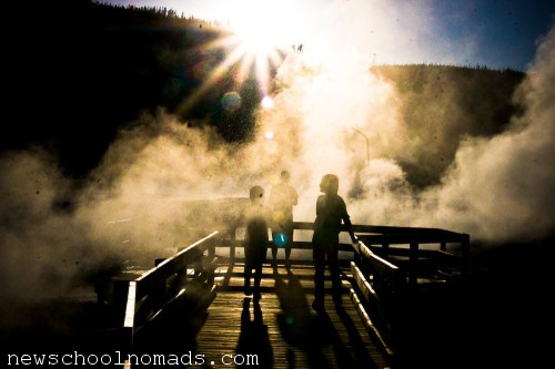Boardwalk Yellowstone Silhouette