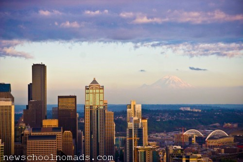 Mt Rainier and Seattle Skyline WA