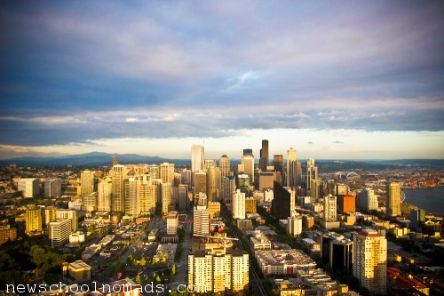 Seattle Skyline from Space Needle with Mt Rainier WA