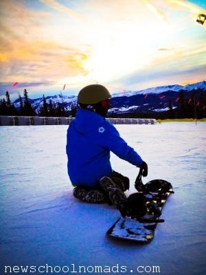 Snowboarding at Sunset