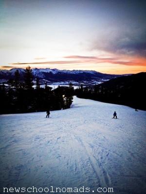 Snowboard at Sunset