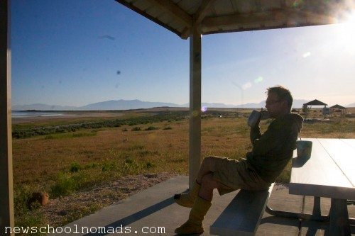 Morning Coffee Antelope Island UT