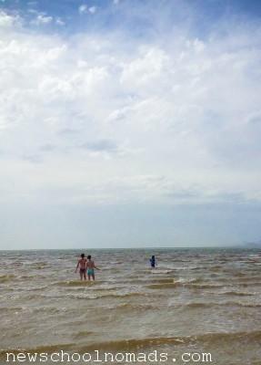 Swimming in Great Salt Lake Antelope Island UT