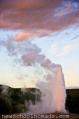 Old Faithful at Sunset Yellowstone National Park