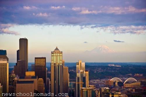 Mt Rainier and Seattle Skyline WA