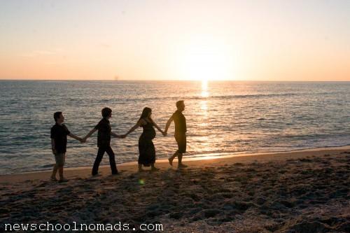 Family Holding Hands Beach FL 1